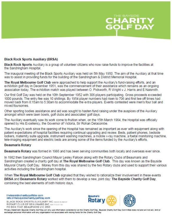 HISTORY OF BAYSIDE CHARITY GOLF DAY